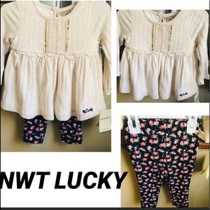 NWT LUCKY CREAM TOP WITH NAVY FLOWER PANTS 12M